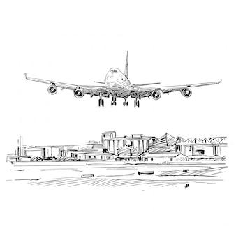 Tekening van het vliegtuig dat in vietnam landt