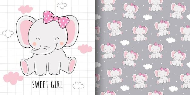 Tekening van kaart en printpatroon lieve olifant voor stoffen textiel kids