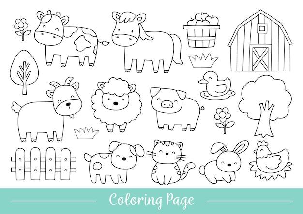 Tekening van kleurplaat vrolijke dieren boerderij doodle cartoon stijl