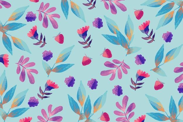Tekening van kleurrijke en bloeiende bloemen