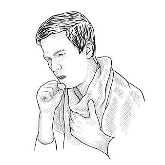 Tekening van man hoest vanwege coronavirus