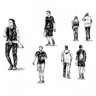 Tekening van mensen lopen op straat