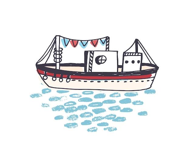 Tekening van schip, veerboot of veerboot met mast die op oceaangolven drijft