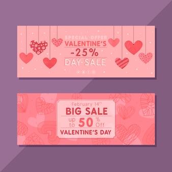Tekening van valentijnsdag verkoop banners sjabloon