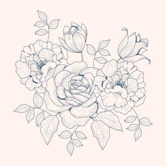 Tekening van vintage bloemenboeket