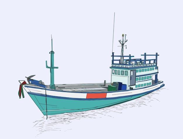 Tekening van visserijtreiler bij het overzees