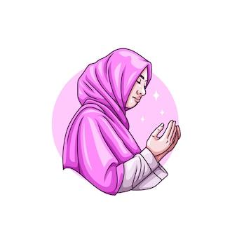 Tekening van vrouw die bidt voor islamitische ramadan kareem