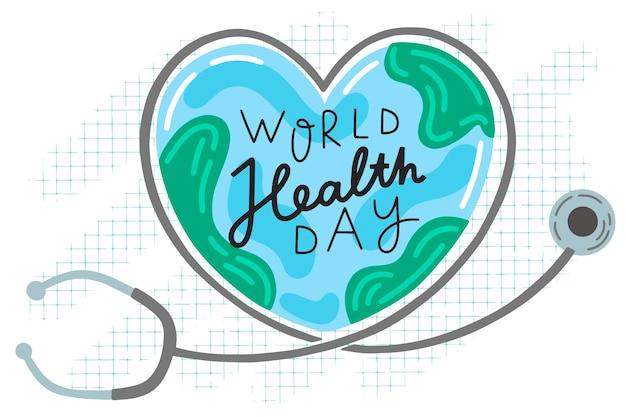 Tekening van wereldgezondheidsdag evenement