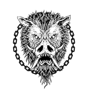Tekening varken of wild zwijn