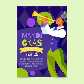 Tekening voor mardi gras poster sjabloon