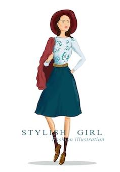 Tekening vrouw in hoed en mode kleding. mooi stijlvol meisje. illustratie.