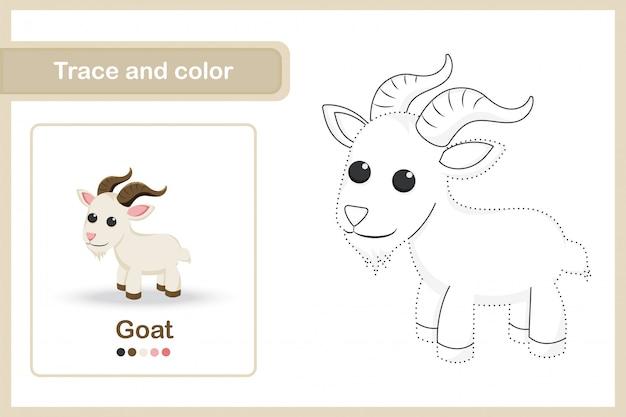 Tekening werkblad voor kleuters, traceren en kleur: geit