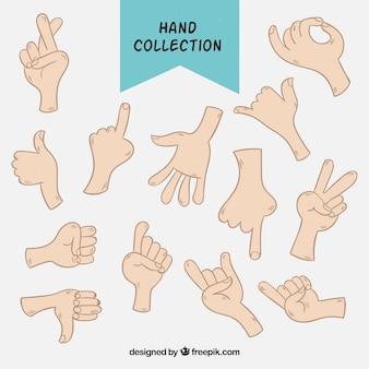 Tekeningen set van handen met tekens