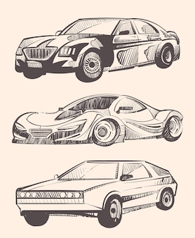 Tekeningen van auto's van verschillende klassen