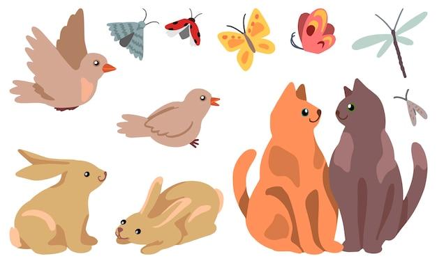 Tekeningen van schattige kattenpaar, konijnen, vogels, insecten. set lente dieren geïsoleerd op wit. hand getekende vector stock illustraties. gekleurde cartoon doodles. voor ontwerp, ansichtkaart, print, decor.