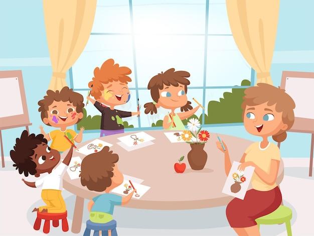 Tekenkunstles. leraar met kinderen creativiteit kleuterschool kunst les cartoon achtergrond.