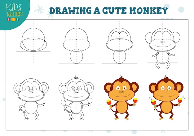 Tekenles voor kleuters. kopieer het schema en teken een schattige dansende aap