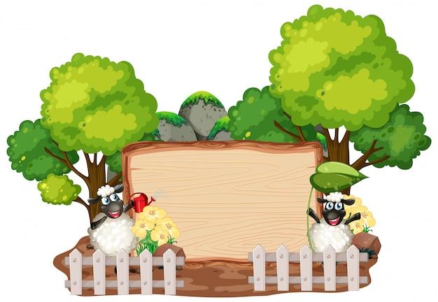Tekenmalplaatje met dieren op tuinachtergrond
