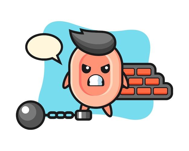 Tekenmascotte van zeep als gevangene, schattige stijl voor t-shirt, sticker, logo-element