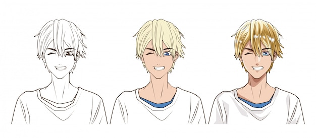 Tekenproces van jonge man anime stijl karakter vector illustratie ontwerp