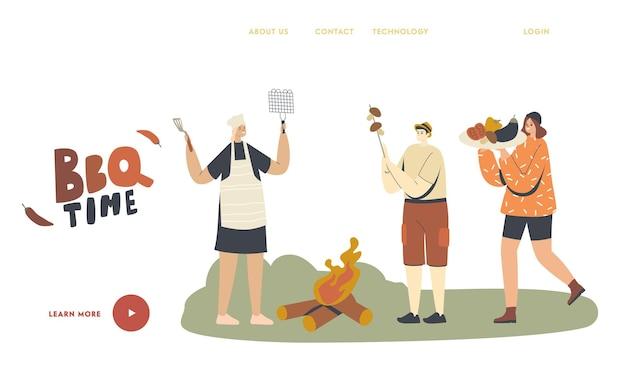 Tekens brengen tijd buiten door op bbq-bestemmingspaginasjabloon. familie of vrienden koken, eten groenten, champignons, worstjes of vlees op de voortuin of het park. lineaire mensen vectorillustratie