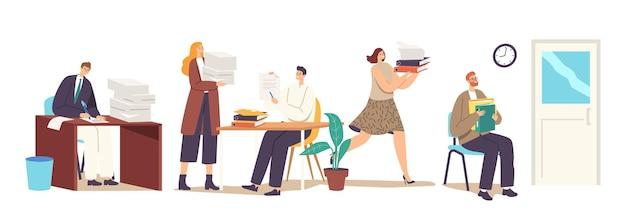 Tekens bureaucratie, drukke kantoormensen, werknemers deadline rush. zakenvrouw draagt stapel documentatie. zakenman werken met enorme hoop papieren documenten mappen. cartoon vectorillustratie