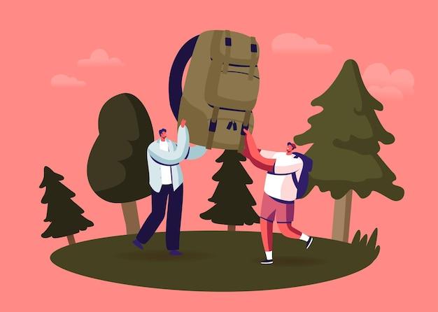 Tekens camping vrije tijd, zomeractiviteit. jonge mensen brengen tijd door op zomerkamp in deep forest