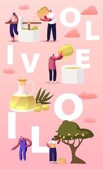 Tekens die de illustratie van de olijfolie van de eerste persing extraheren.
