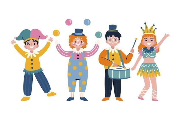 Tekens die hand getrokken carnavalskostuums dragen
