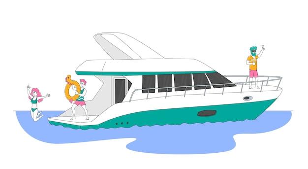 Tekens die in de zomer op een luxejacht op zee reizen