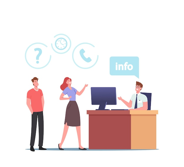 Tekens gebruiken info desk service. mensen staan aan de receptioniste tafel hebben informatie en hulp nodig in supermarkt, luchthaven of winkelcentrum, klanten stellen vragen. cartoon vectorillustratie