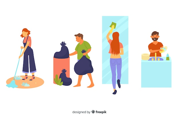 Tekens geïllustreerd huishoudelijk werk