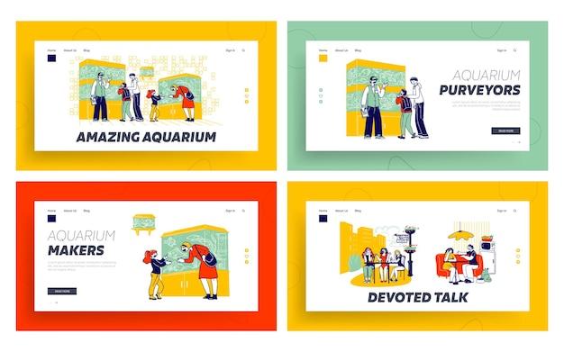 Tekens in dierenwinkel kijken naar vissen in het aquarium, vriendinnen ontmoeten bestemmingspagina-sjabloon.