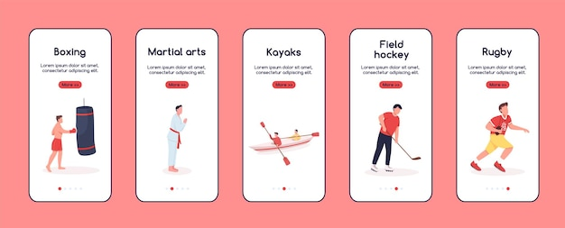 Tekens in sport onboarding mobiele app scherm flattemplate. favoriete hobby's. walkthrough website stappen met karakters. ux, ui, gui smartphone cartoon interface, case prints set