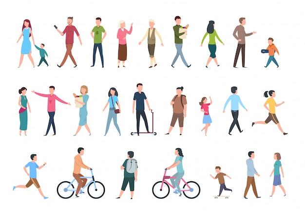 Tekens in vrijetijdskleding, menigte wandelingen in de stad.