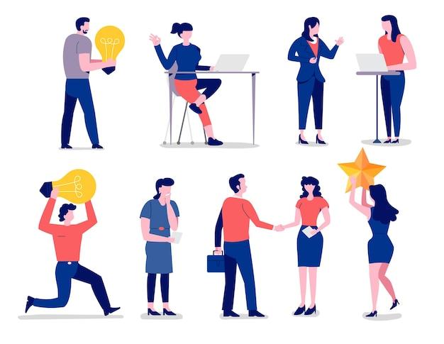 Tekens instellen plat ontwerpconcept zakelijke verschillende houding van werknemer