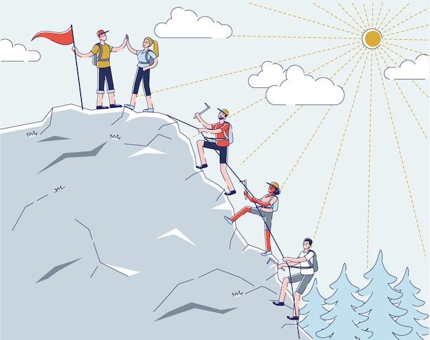 Tekens klimmen de berg op gebruik professionele alpinistenhulpmiddelen