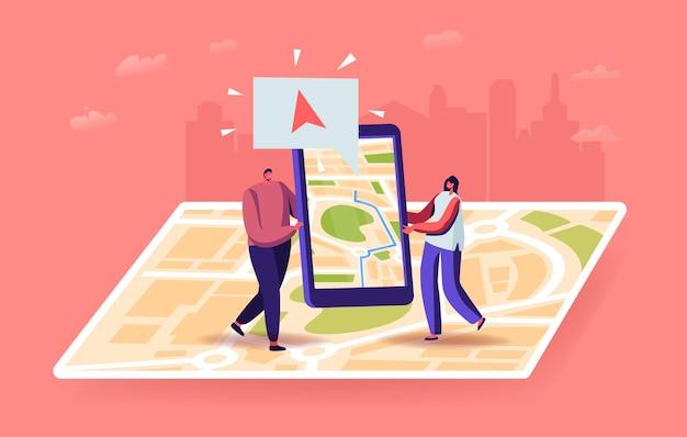 Tekens met behulp van geolocatie positionering illustratie. kleine man en vrouw met smartphone