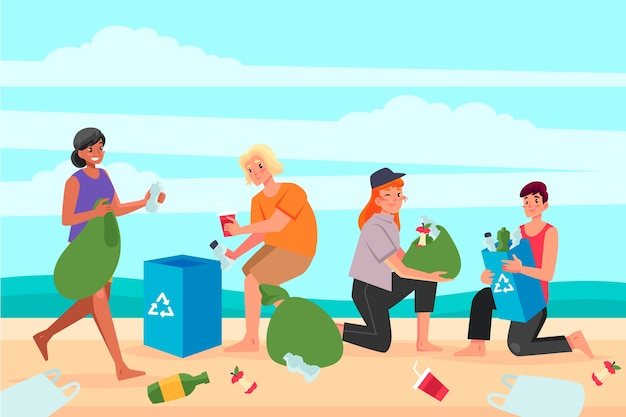 Tekens schoonmaken strand