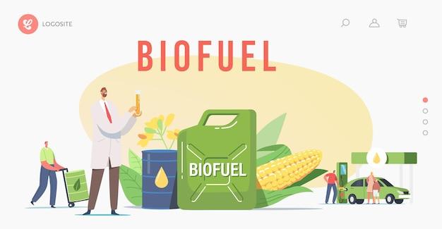Tekens tanken auto met biobrandstof op station bestemmingspagina sjabloon. man pompt eco-benzine, benzine voor auto. voertuigvulservice, wetenschapper met kolf. cartoon mensen vectorillustratie