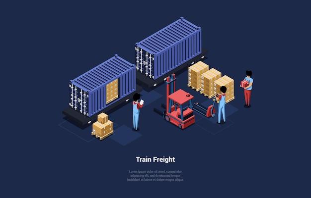 Tekens team van werknemers laden van vervoer met dozen