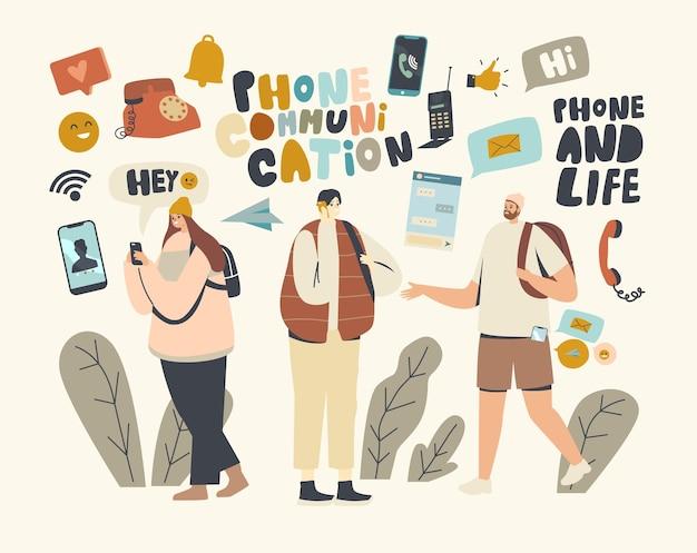 Tekens telefoon communicatieconcept. jonge mannen en vrouwen met mobiele telefoons of smartphones, tieners die chatten, sms'en, nieuwsfeed lezen op sociale media. cartoon mensen vectorillustratie