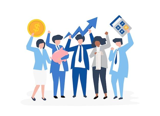 Tekens van een bedrijfsmensen en de pictogrammen van de prestatiesgroei