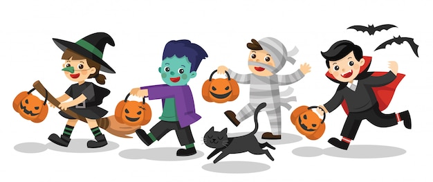 Tekens van happy halloween. grappige kinderen in kleurrijke kostuums en een kat. zombie, mummie, heks, dracula.