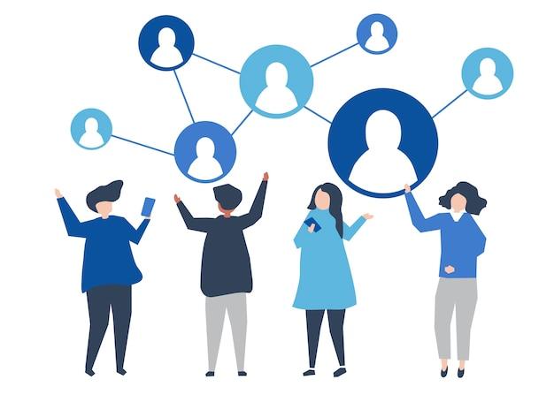 Tekens van mensen en hun sociale netwerkillustratie