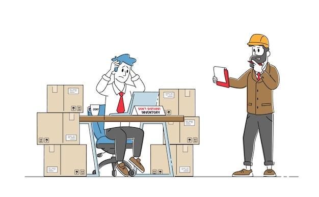 Tekens van voorraadbeheerder werken in magazijn