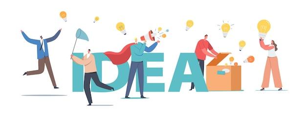 Tekens verspreiden kennis, ideeënconcept. man in rode mantel met luidspreker, mensen met gloeilampen, open doos met lampen, mensen vangen bollen met net poster banner flyer. cartoon vectorillustratie