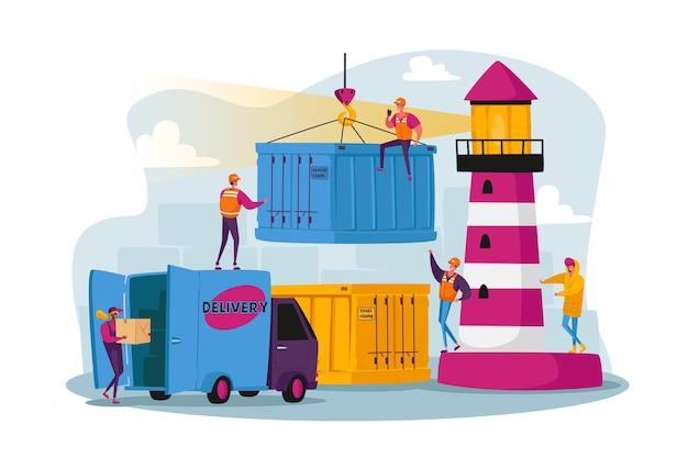 Tekens werken in zeehavenlading, verzendhaven met havenkraanlaadcontainers. werknemers dragen dozen in dokken in de buurt van de vuurtoren
