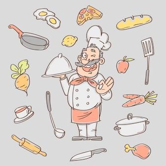 Tekenschets kok en diverse keukenvoorwerpen. vector illustratie. schets doodle.