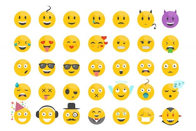 Tekenset met verschillende emotiesuitdrukkingen.